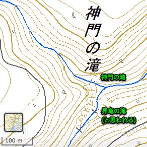 国土地理院地図から抜粋した神門の滝周辺