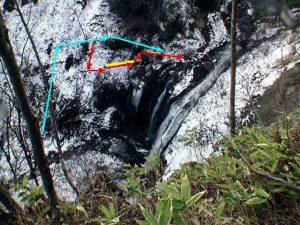 モイチャン滝高巻きの図