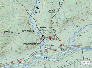 糸毛の滝周辺の地形図