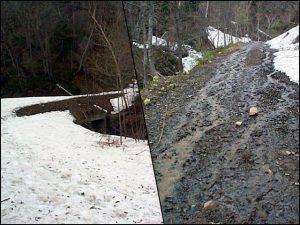 残雪と流水の林道