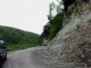 崩れそうな林道