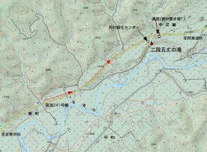 二段五丈の滝付近の地図
