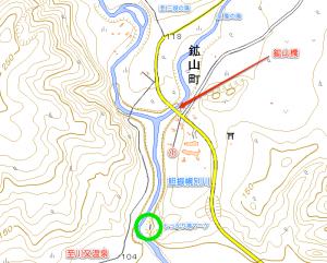 鉱山町無名滝付近の地図