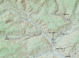 林道ゲートを示す地図