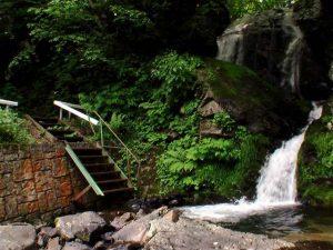 川へ下りる階段を対岸から