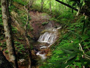 七色滝を俯瞰気味に見る