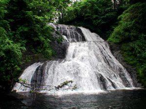 オオシュブンナイの滝を正面から
