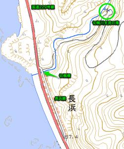 切梶川支流の滝周辺の地形図