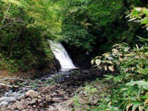 遠目で見る魚留の滝