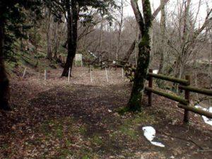 丸太の柵とロープ