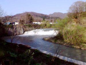 遠目に見る魚染の滝