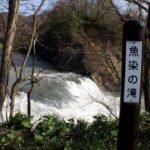 魚染の滝看板