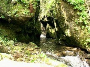 岩の間から飛沫が見える