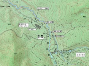 盤の沢滝 黄金岩の滝周辺地図