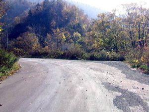 道道終点付近(?)の左カーブ