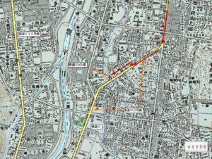 精進川の滝周辺地図