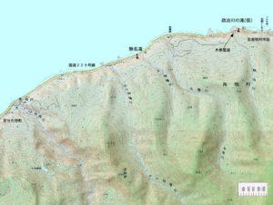 原歌の無名滝周辺地図