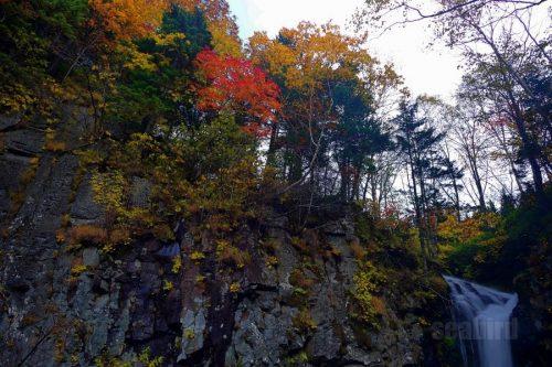紅葉とパンケの滝
