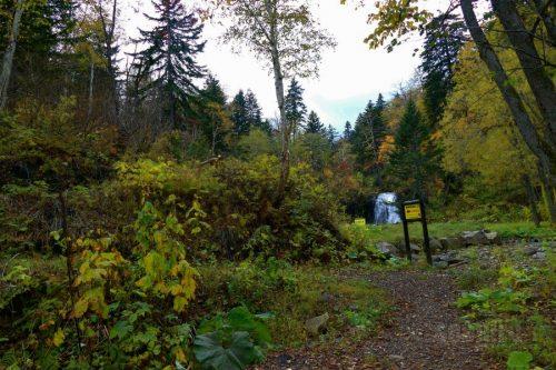 女神の滝遊歩道看板と雨霧の滝