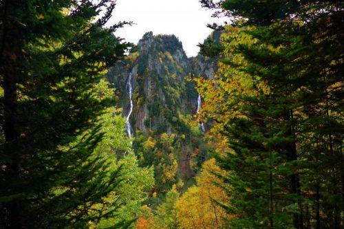 双瀑台から見る流星の滝と銀河の滝