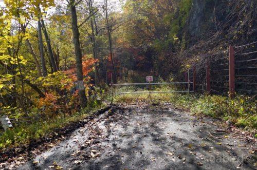 先の林道は通行止め
