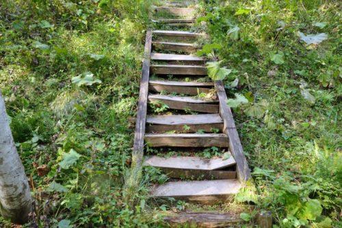 木製の階段を下りる